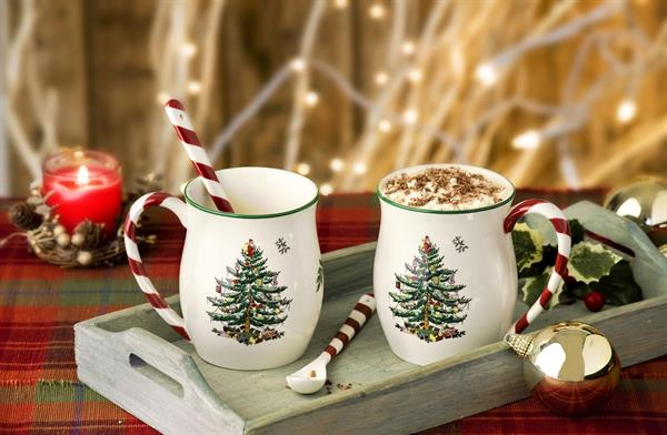 CHRISTMAS TREE PEPPERMINT MUGS SET OF TWO SPODE