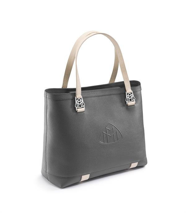 OPTIC HOUSE_MAYBACH Boutique 82 'THE ICON I' Handbag titanium grey pearl-silk beige
